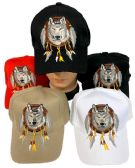 24 of Adjustable Baseball Hat Wolf with Dream Catcher Assorted