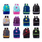 """24 of 17"""" Backpacks With Front Zipper Pockets in 12 Assorted Styles Colors"""
