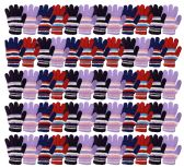 72 of Yacht & Smith Womens Warm Assorted Colors Striped Fuzzy Gloves