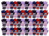 48 of Yacht & Smith Womens Warm Assorted Colors Striped Fuzzy Gloves