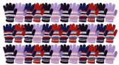 36 of Yacht & Smith Womens Warm Assorted Colors Striped Fuzzy Gloves