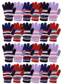 24 of Yacht & Smith Womens Warm Assorted Colors Striped Fuzzy Gloves