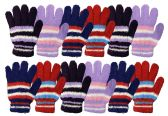 12 of Yacht & Smith Womens Warm Assorted Colors Striped Fuzzy Gloves