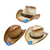 24 of Classic Woven Cowboy Hat [Brown Hat Band/Steer]