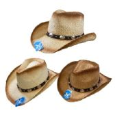 24 of Classic Woven Cowboy Hat [Round Silver Medallions on Hat Band]