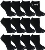 12 of Yacht & Smith Kids Poly Blend Light Weight No Show Ankle Socks Solid Black Size 6-8
