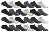 24 of Yacht & Smith Kids Poly Blend Light Weight No Show Ankle Socks Solid Assorted 4 Colors Size 6-8