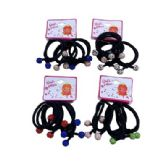 36 of Four Piece Elastic Hairbands With Colored Rhinestone Balls