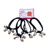 36 of Four Piece Elastic Hairbands with White Rhinestone Beads