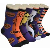 360 of Ladies Halloween Printed Crew Socks Size 9-11
