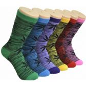 360 of Ladies Weed Printed Crew Socks Size 9-11