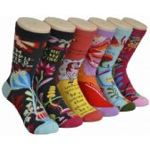 360 of Ladies Colorful Printed Crew Socks Size 9-11