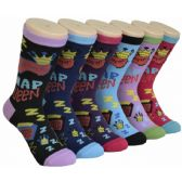 360 of Ladies Lounge Printed Crew Socks Size 9-11