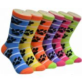 360 of Ladies Paw Print Crew Socks Size 9-11