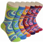 360 of Ladies Swirl Crew Socks Size 9-11