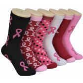 360 of Ladies Pink Ribbon Crew Socks Size 9-11