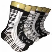 360 of Ladies Music Note Crew Socks Size 9-11