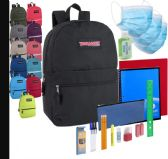 24 of Preassembled Pandemic Readiness 17 Inch Backpack With Masks, Hand Sanitizer & 20 Piece School Supply Kit