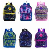 """24 of 17"""" Backpacks with Side Mesh Water Bottle Pocket in 6 Assorted Prints"""