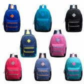 """24 of 17"""" Backpacks with Dual Front Zipper Pockets in 8 Assorted Colors"""