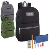24 of Preassembled 17 Inch Adventure Trails Backpack And 12 Piece School Supply Kit 3 Colors