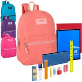 24 of Preassembled 17 Inch Backpack And 20 Piece School Supply Kit Girls