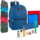 24 of Preassembled 17 Inch Backpack And 20 Piece School Supply Kit 6 Color