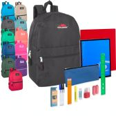 24 of Preassembled 17 Inch Backpack And 20 Piece School Supply Kit 12 Color