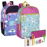 24 of Backpack And 18 Piece School Supply Kit Girls
