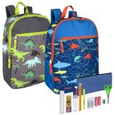 24 of Preassembled 17 Inch Printed Backpack And 18 Piece School Supply Kit Boys