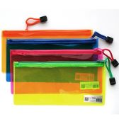 96 of PVC Zipper Pencil Pouch Assorted Neon Colors