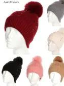 36 of Women Winter Pom Pom Hat With Studs Design