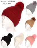 36 of Women's Winter Pom Pom Hat Solid Colors Assorted