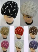 12 of Ladies Knitted Hat ZigZag Rhinestones