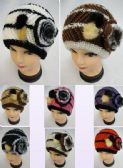 12 of Ladies Knitted Hat Fur & Flower