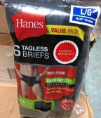 24 of Hanes Men's 6 Pack Tagless Briefs Mid-Rise Size M