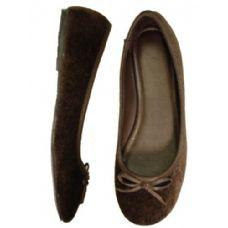 18 of Ladies' Velvet Ballerina *Brown Size: 5-10