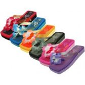 48 of Women's Square Floral Top Flip Flops