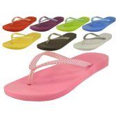 48 of Ladies' Stripe Strap Thong Flip Flops