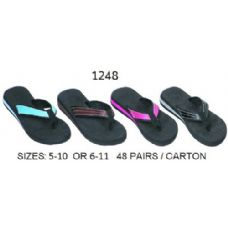 48 of Ladies Wedge Flip Flop With Color Band