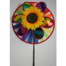 """60 of 14"""" Round Wind Spinner-Rainbow & Sunflower"""