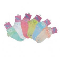 48 of LACE FLOWER ANKLE SOCKS ASSORTED SIZES ASSORTED COLORS
