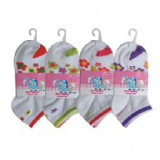 48 of 3 PAIR GIRLS FLOWER ANKLE SOCKS SIZE 4-6 ASSORTED COLORS