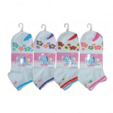 48 of 3 PAIR GIRLS FLOWER ANKLE SOCKS SIZE 6-8 ASSORTED COLORS