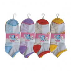 48 of 3 PAIR GIRLS STRIPE W/GLITTER ANKLE SOCKS SIZE 9-11 ASSORTED COLORS