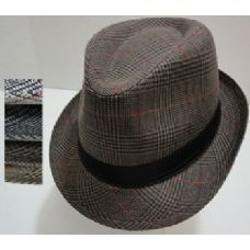 120 of Fedora Hat-Plaid with Solid Hat Band
