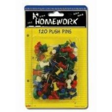 48 of Push Pins - 120ct.- Asst.Cls. - Carded