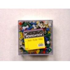 48 of Push Pins - 300ct.- Asst. Cls - Plastic Boxed