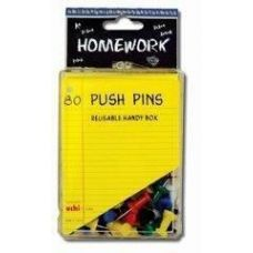48 of Push Pins - 80ct.- Asst.Colors - Plastic Boxed