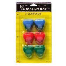 48 of Sharpeners - Pencil - 6 pk.- Heart Design - Asst. Cls.